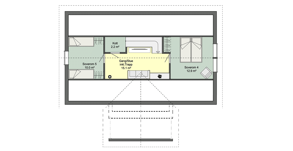 Планировка мансарды норвежского каркасного дома Смарт 4