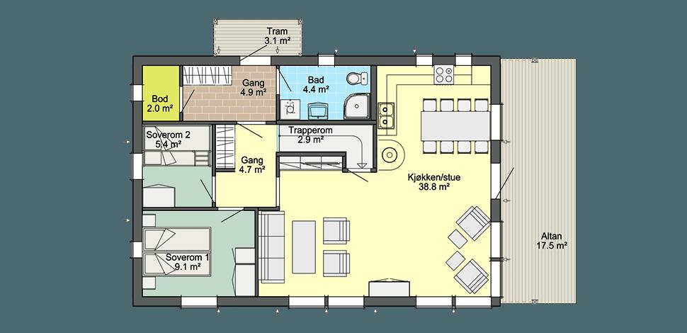 Планировка норвежского каркасного дома Смарт 2С