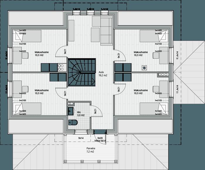 Мансардный этаж каркасного дома Антти 161