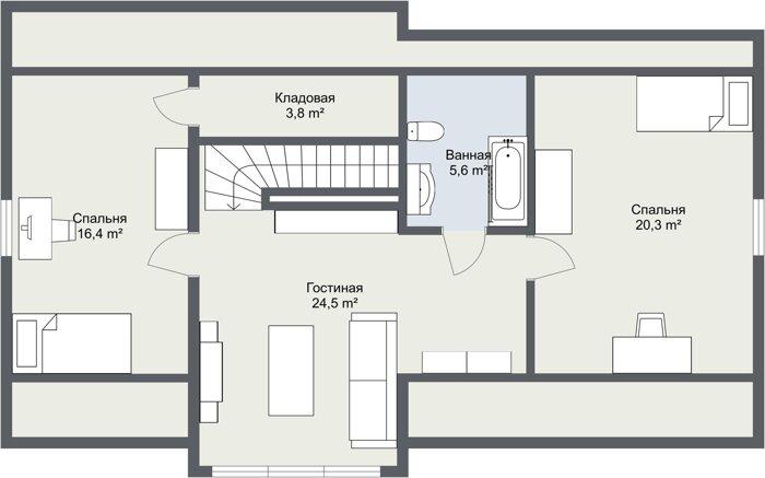 Каркасный дом Норма 2 этаж планировка