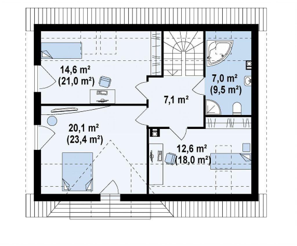 Планировка 2 этажа дома с мансардным этажом