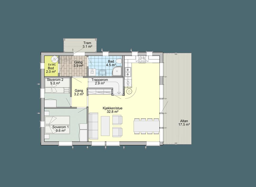 Планировка 1 этажа каркасного дома Смарт 2