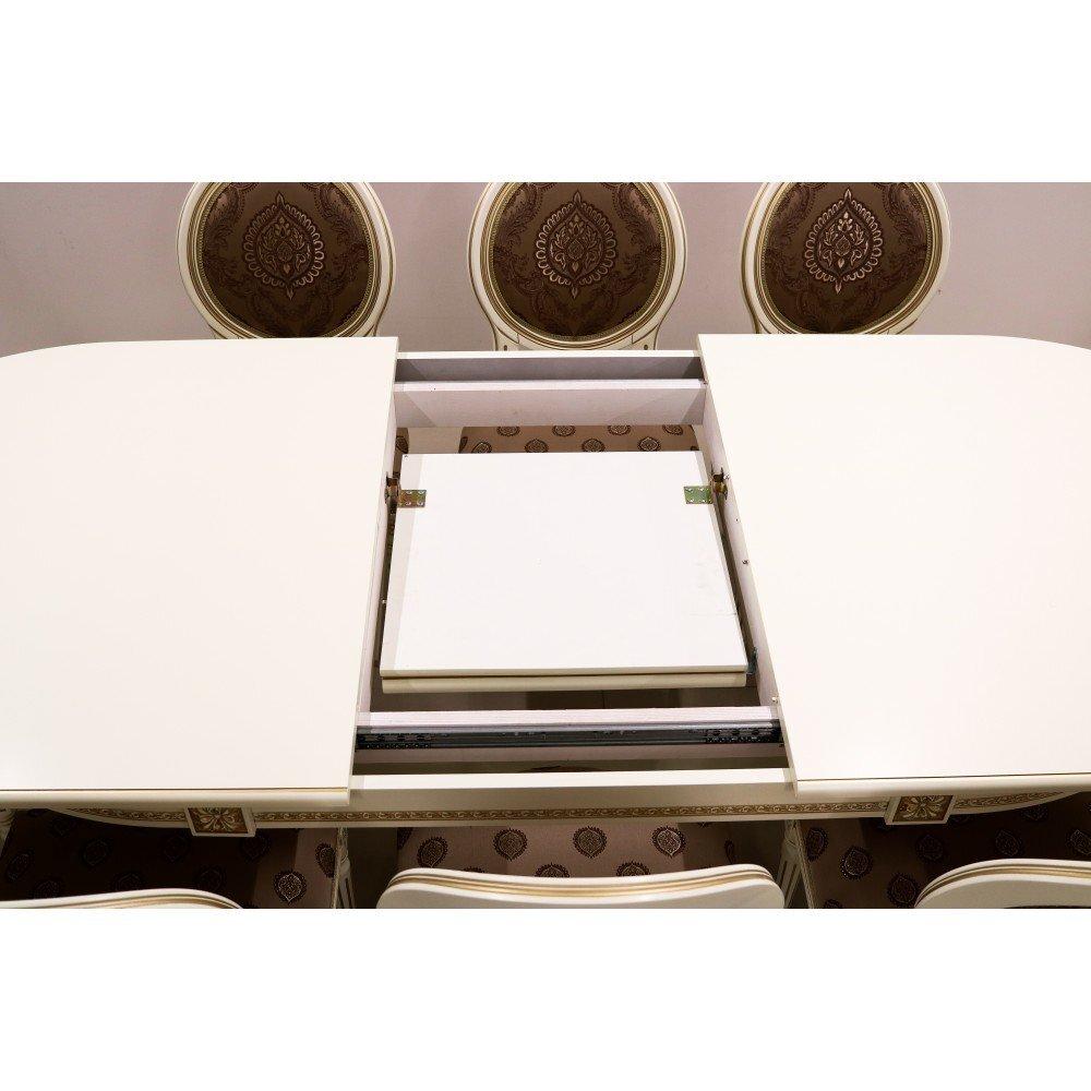 Стол 200*100 (+50) см., раздвижной 2-х тумбовый стол из массива бука Цвет: Слоновая кость с золотой патиной - фото pic_04d6d148352ec2e_1920x9000_1.jpg