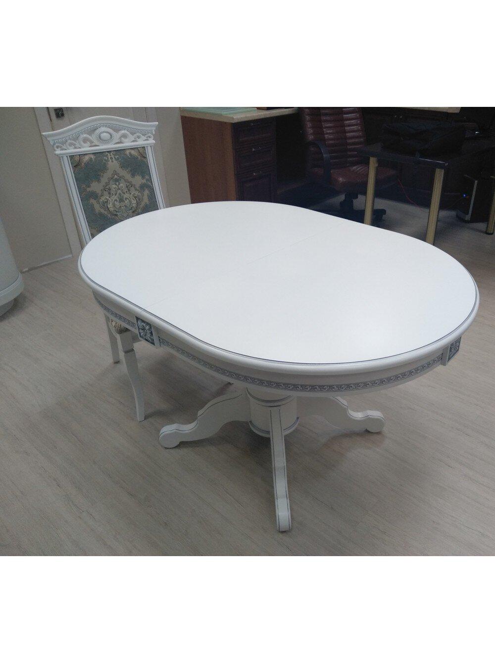 Овальный стол раздвижной из массива бука цвет: белый с серебряной патиной Размер 90*130 (+50 ) см. - фото pic_16ccde6e3ae44768f57798a9f520feec_1920x9000_1.jpg