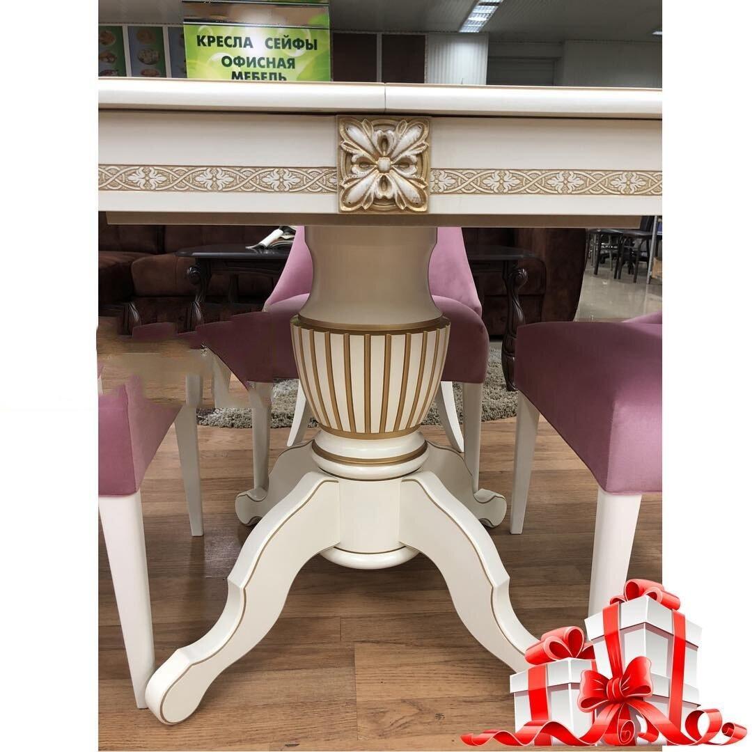 Овальный обеденный стол из массива бука раздвижной Размер 90*130 (+50 ) см. цвет слоновая кость с золотой патиной - фото pic_a2864154002b87679ffc30aa56ea7eac_1920x9000_1.jpg