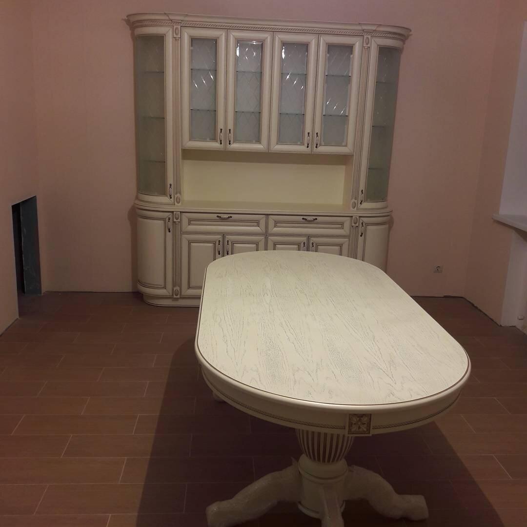 Стол 200*100 (+50) см., раздвижной 2-х тумбовый стол из массива бука Цвет: Слоновая кость с золотой патиной - фото pic_7d824a90d895be43744fea187c4c9458_1920x9000_1.jpg
