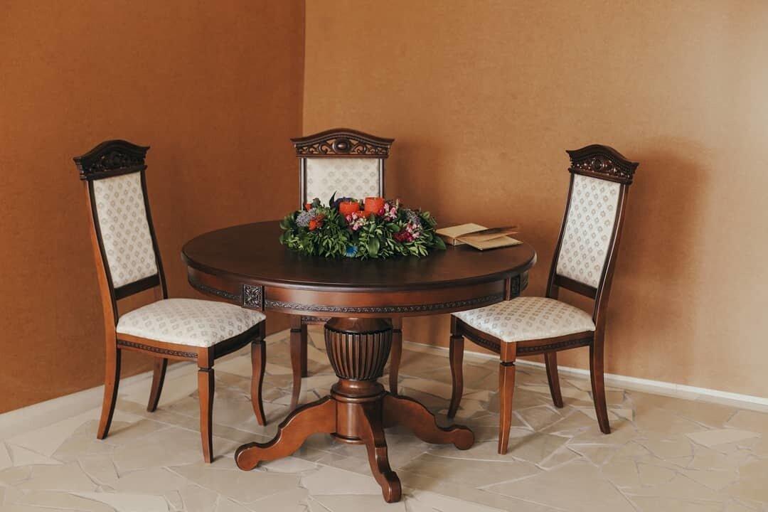 Круглый обеденный стол раздвижной Степ Диаметр: 100 (+30 ) см. 1000*1000мм цвет орех, из массива дерева бук - фото pic_3277dfa92fb18d3f70d9eebbbbc4176c_1920x9000_1.jpg