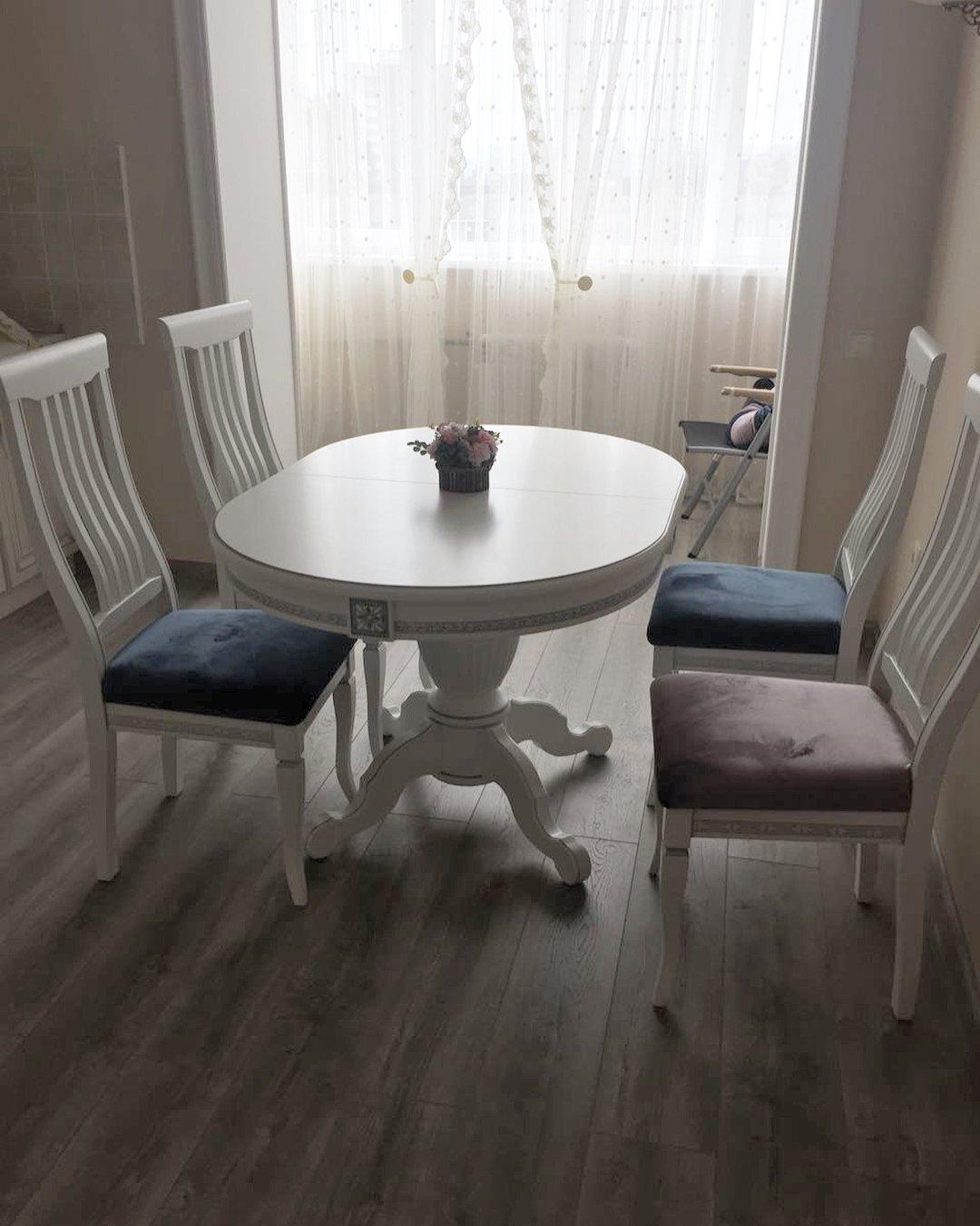 Овальный стол из массива бука цвет: белый Размер 90*130 (+50 ) см. - фото pic_e891a71cb84ca79_1920x9000_1.jpg