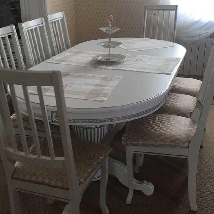 Стол 200*100 (+50) см., раздвижной 2-х тумбовый стол из массива бука Цвет: Слоновая кость с золотой патиной - фото pic_c51b88c4b15172152f40ff434df04141_1920x9000_1.jpg