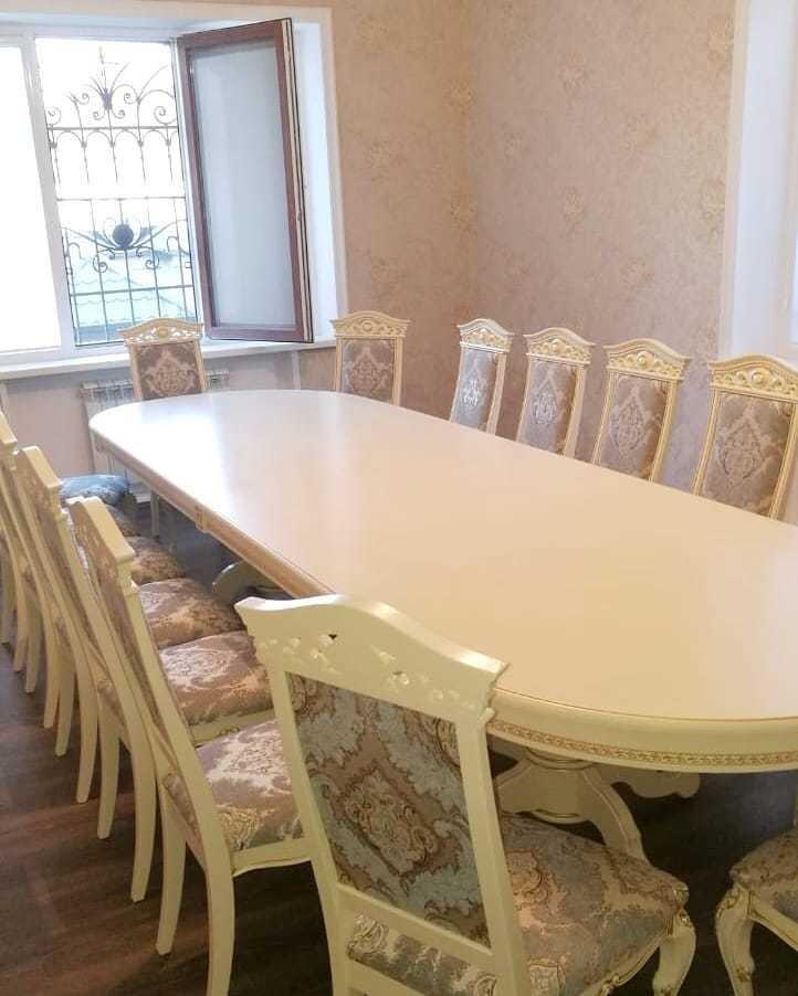 Стол 200*100 (+50) см., раздвижной 2-х тумбовый стол из массива бука Цвет: Слоновая кость с золотой патиной - фото pic_259141c3cff71e61e0afcebc2346b4dd_1920x9000_1.jpg