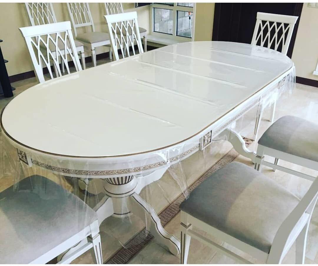 Стол 200*100 (+50) см., раздвижной 2-х тумбовый стол из массива бука Цвет: Слоновая кость с золотой патиной - фото pic_324bda8dffc3753665353668ac3da315_1920x9000_1.jpg