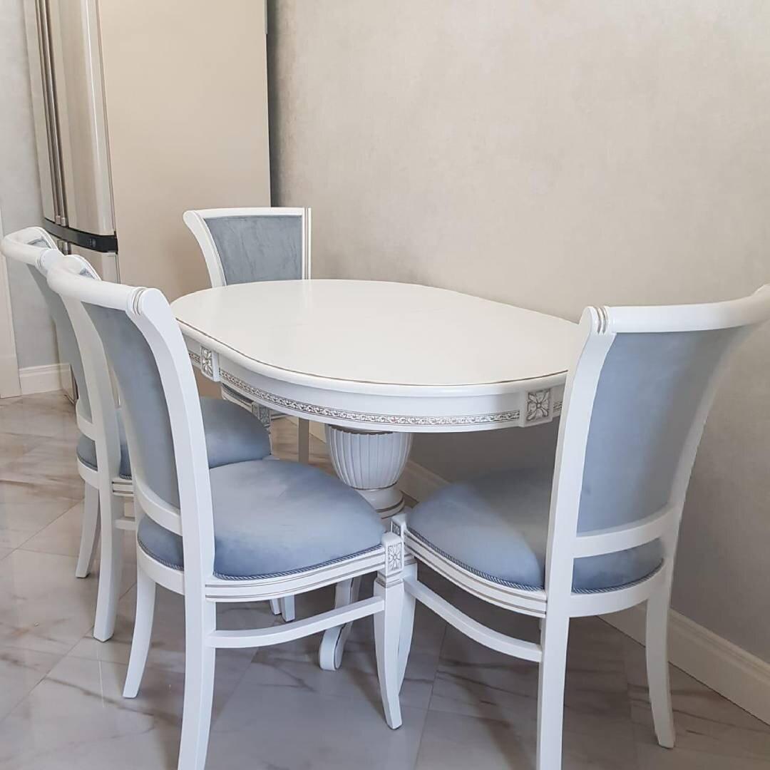 Овальный стол раздвижной из массива бука цвет: белый с серебряной патиной Размер 90*130 (+50 ) см. - фото pic_637fec84e6a6eddf4518a96b91053c79_1920x9000_1.jpg