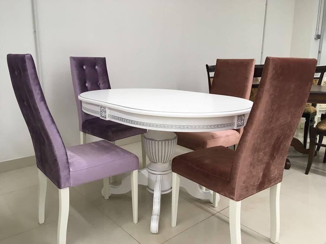 Овальный стол из массива бука цвет: белый Размер 90*130 (+50 ) см. - фото pic_f407e9ef76075016e26627c7776929bd_1920x9000_1.jpg