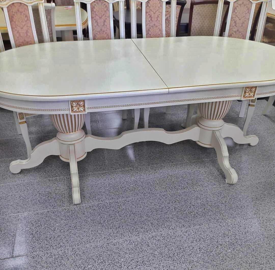 Стол 200*100 (+50) см., раздвижной 2-х тумбовый стол из массива бука Цвет: Слоновая кость с золотой патиной - фото pic_09b018eccedc2d32285477d777835b49_1920x9000_1.jpg