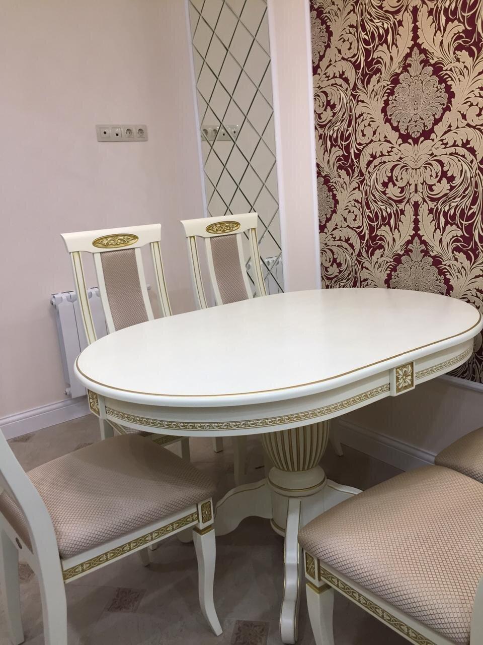 Овальный обеденный стол из массива бука раздвижной Размер 90*130 (+50 ) см. цвет слоновая кость с золотой патиной - фото pic_541d35c559b31655b7359ee2a0b7e0b0_1920x9000_1.jpg
