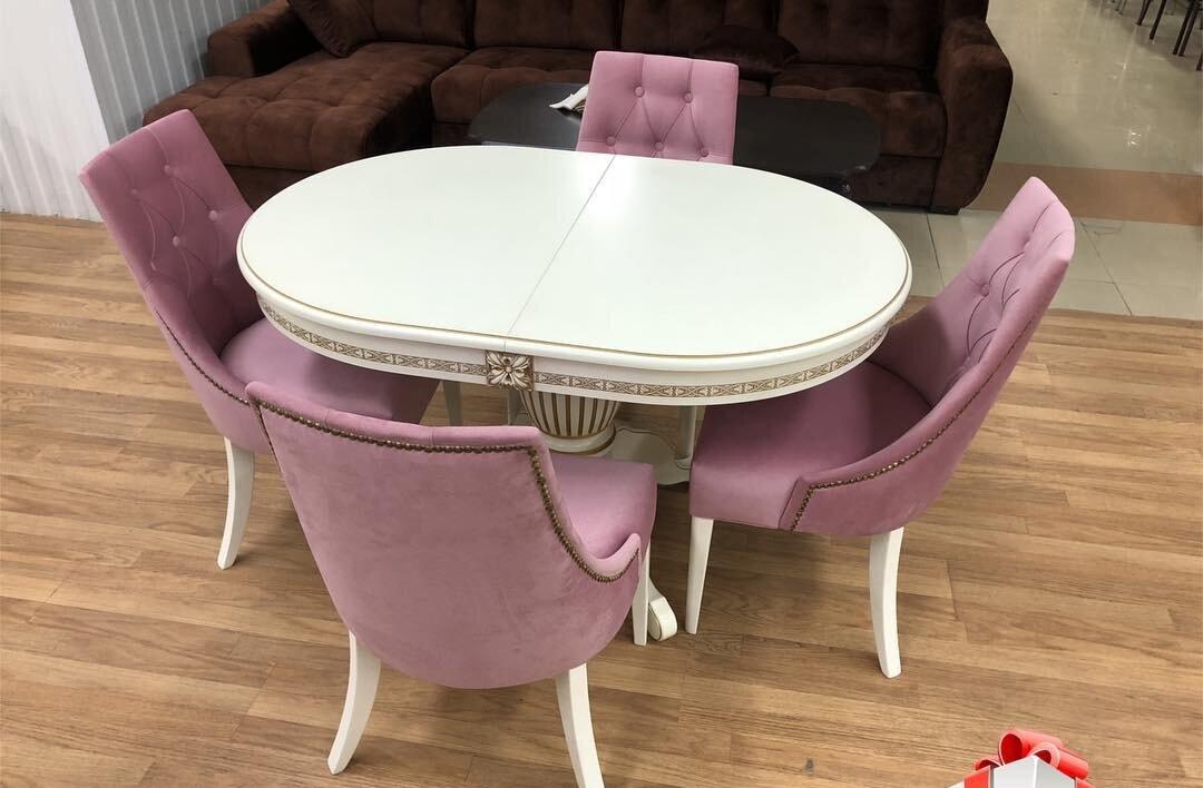 Овальный обеденный стол из массива бука раздвижной Размер 90*130 (+50 ) см. цвет слоновая кость с золотой патиной - фото pic_502d41258ea2cbff28e35d4abc7be6e4_1920x9000_1.jpg