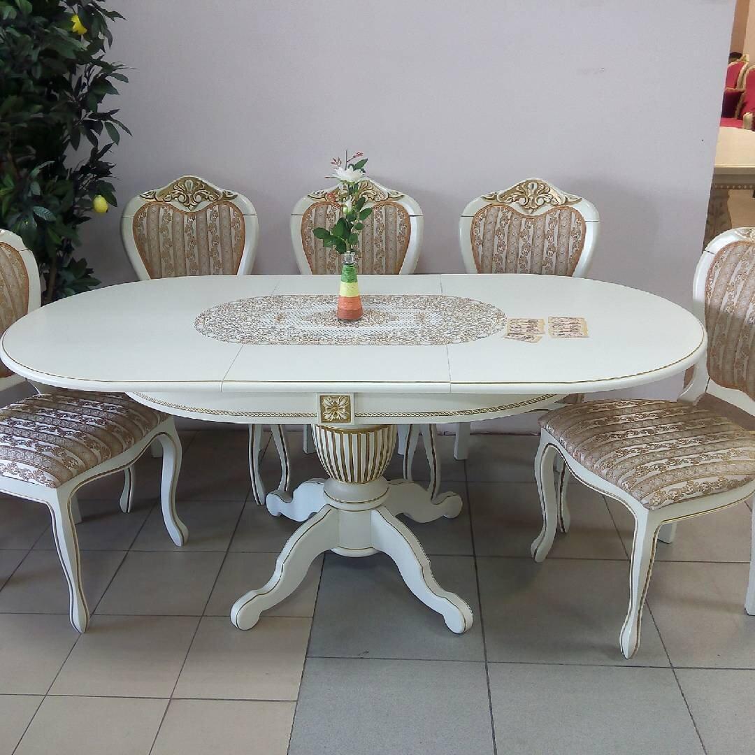 Овальный обеденный стол из массива бука раздвижной Размер 90*130 (+50 ) см. цвет слоновая кость с золотой патиной - фото pic_221ad059747cae09f8a41926d831b256_1920x9000_1.jpg