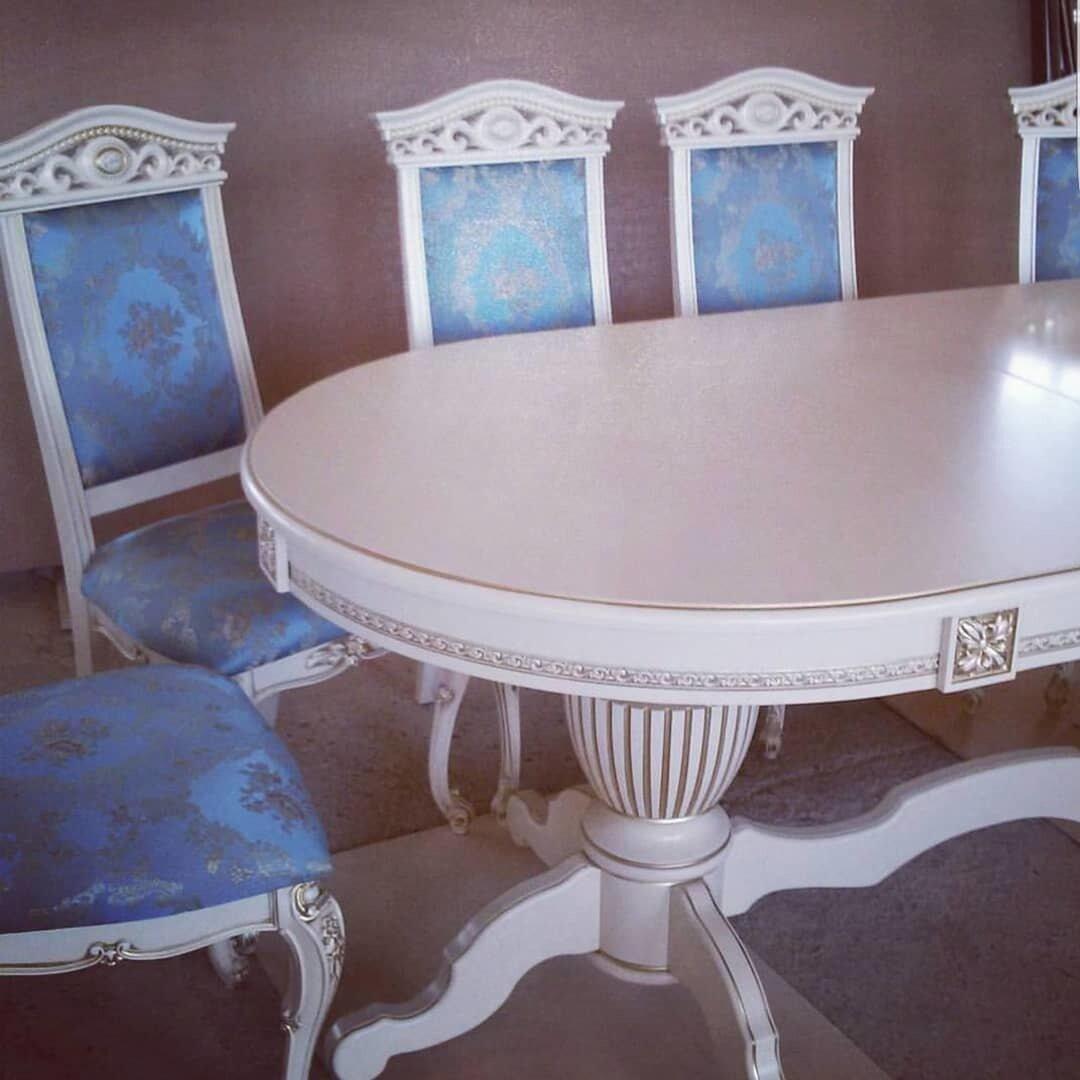 Стол 200*100 (+50) см., раздвижной 2-х тумбовый стол из массива бука Цвет: Слоновая кость с золотой патиной - фото pic_185e96e2af4914175fb884426776ba72_1920x9000_1.jpg