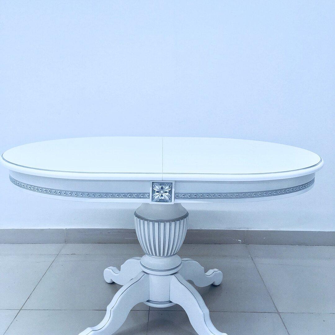 Овальный стол раздвижной из массива бука цвет: белый с серебряной патиной Размер 90*130 (+50 ) см. - фото pic_4969e4fef577d3ef7be446b8e5e98241_1920x9000_1.jpg