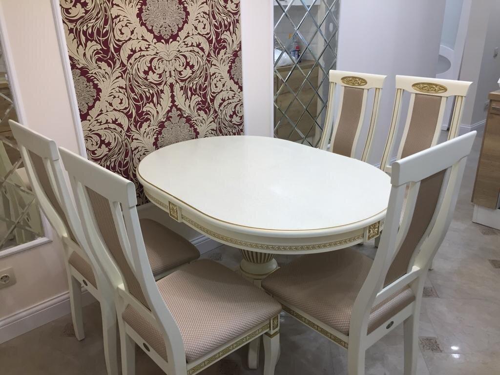 Овальный обеденный стол из массива бука раздвижной Размер 90*130 (+50 ) см. цвет слоновая кость с золотой патиной - фото pic_67110d740d4707751a25e2f700902365_1920x9000_1.jpg