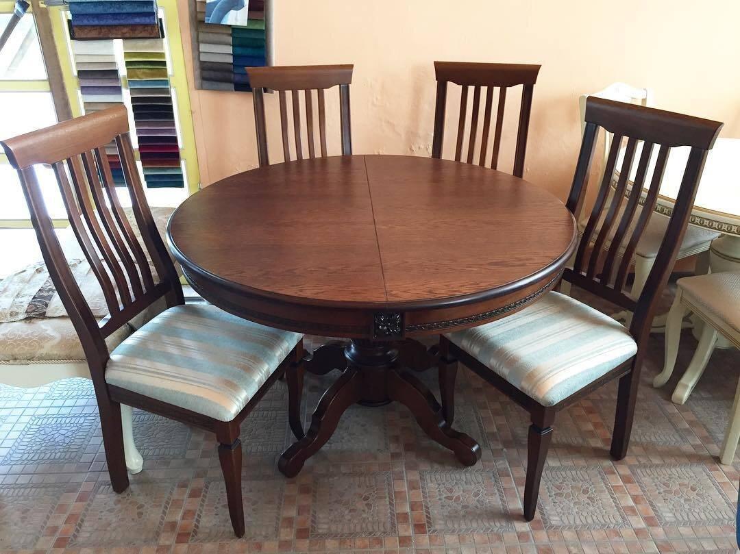 Круглый обеденный стол раздвижной Степ Диаметр: 100 (+30 ) см. 1000*1000мм цвет орех, из массива дерева бук - фото pic_6b936d7fa449c98735419d27e72157f1_1920x9000_1.jpg