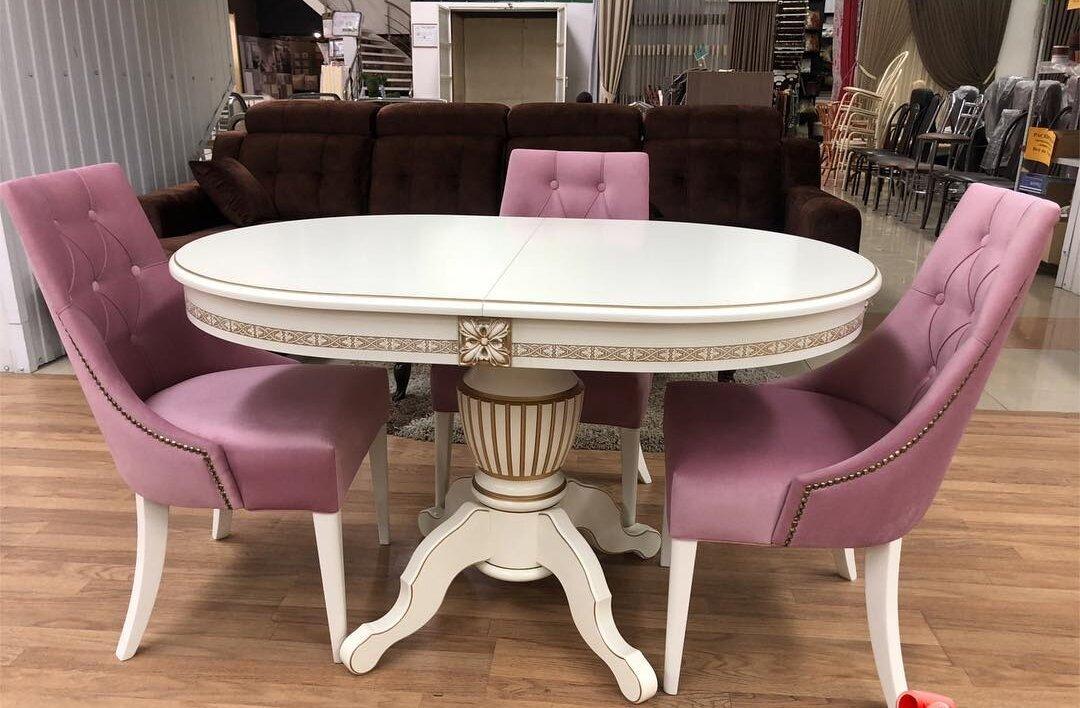 Овальный обеденный стол из массива бука раздвижной Размер 90*130 (+50 ) см. цвет слоновая кость с золотой патиной - фото pic_e1bb01e0840364e8541987828cb5c703_1920x9000_1.jpg