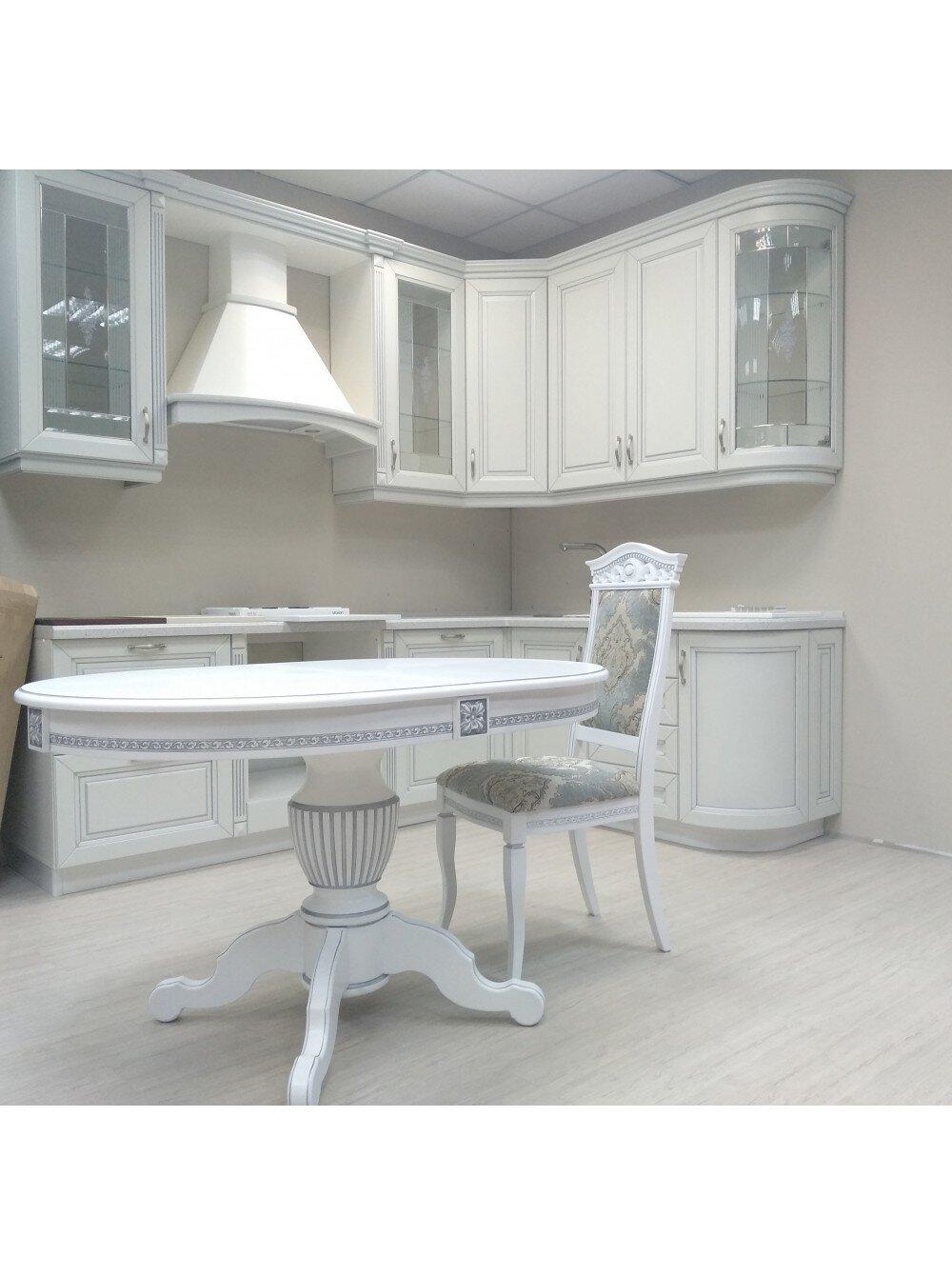 Овальный стол раздвижной из массива бука цвет: белый с серебряной патиной Размер 90*130 (+50 ) см. - фото pic_9c3642806a5e7c755501d8e3c404bd4e_1920x9000_1.jpg