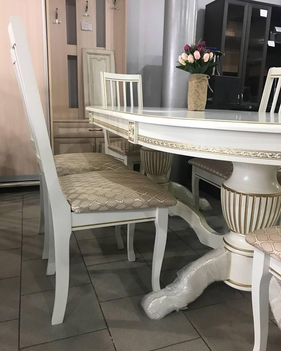 Стол 200*100 (+50) см., раздвижной 2-х тумбовый стол из массива бука Цвет: Слоновая кость с золотой патиной - фото pic_31a9b72ca477d4bbe31cabbc114e6070_1920x9000_1.jpg