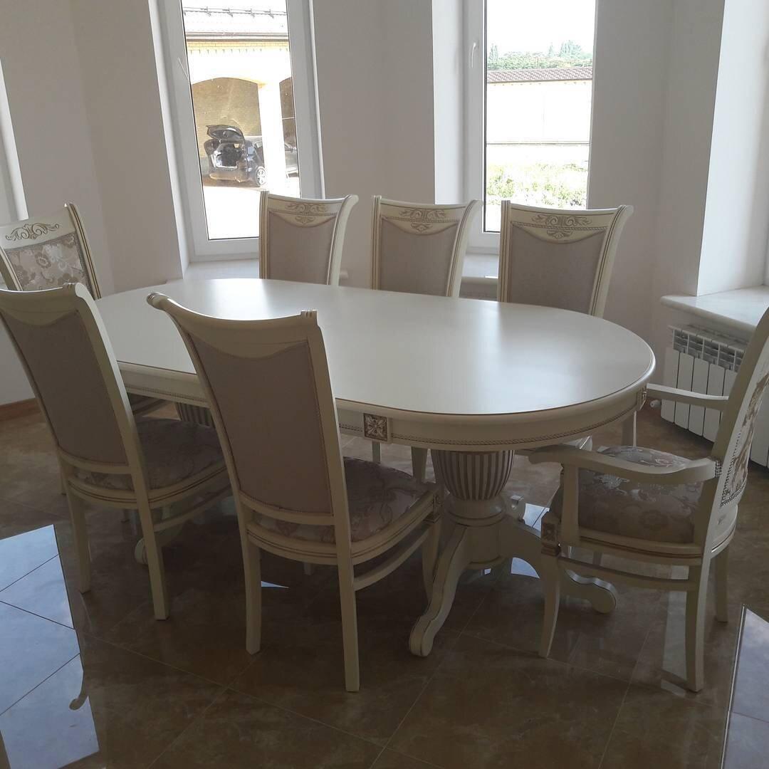Стол 200*100 (+50) см., раздвижной 2-х тумбовый стол из массива бука Цвет: Слоновая кость с золотой патиной - фото pic_148b985de8f841c8fb8c86029e92ddce_1920x9000_1.jpg