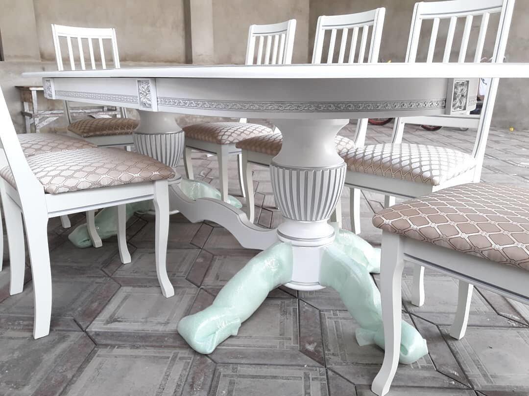 Стол 200*100 (+50) см., раздвижной 2-х тумбовый стол из массива бука Цвет: Слоновая кость с золотой патиной - фото pic_657c7f67c8dae33915127e8ef89a7b52_1920x9000_1.jpg