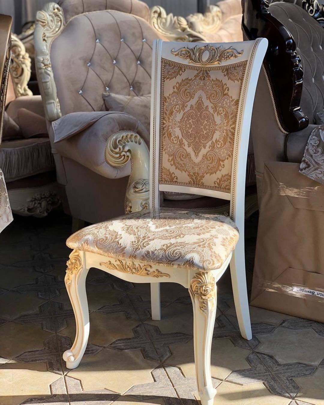 Стул из массива дерева цвет слоновая кость с золотом Обивка выполнена из высококачественого материала в различных цветах - фото pic_5f8d5022985550b37d7a823a60e423a1_1920x9000_1.jpg