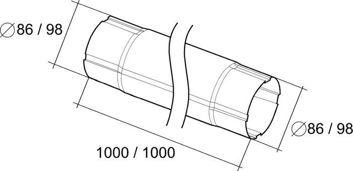 Труба круглая соединительная 1 метр 125*90 Aluzink - фото pic_e8cc270735011ab_700x3000_1.jpg