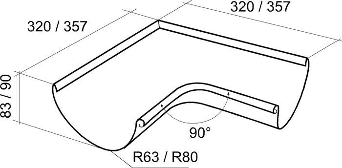 Угол желоба внутренний, внешний  90 градусов 125*90 Grand Line - фото pic_55779c7088f00d4_700x3000_1.jpg