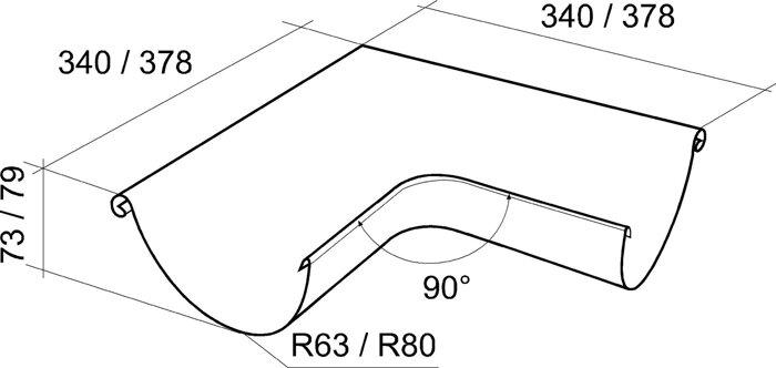 Угол желоба внутренний, внешний  90 градусов 125*90 Grand Line - фото pic_b3973791e477ca2_700x3000_1.jpg