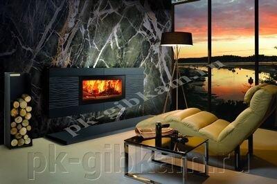 Гибкий камень - АКВАРЕЛЬ - фото каминная комната Мрамор Малахит