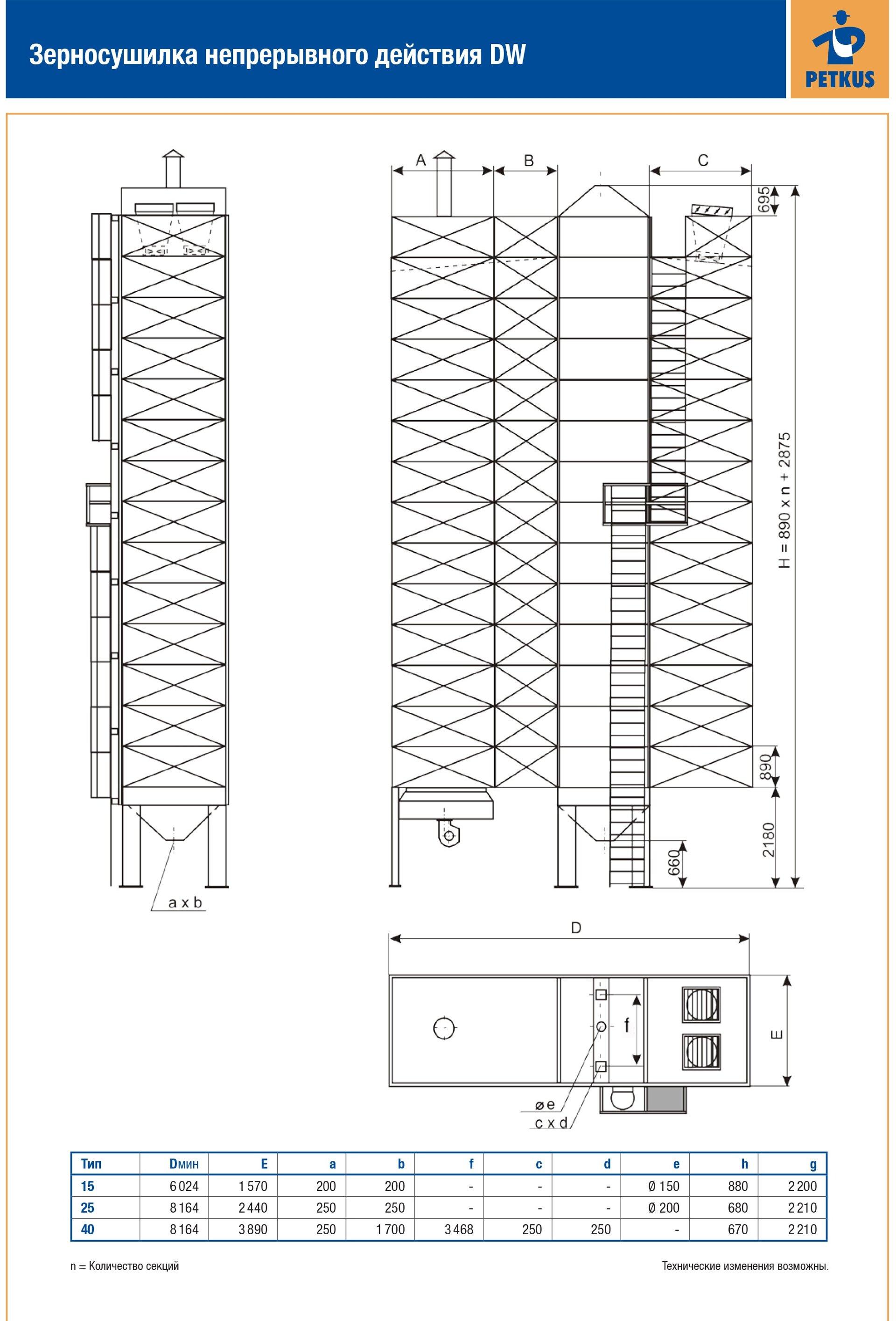 Зерносушилка непрерывного действия DW (WS) Петкус 1500, 2500, 4000 - фото Сушилка Петкус с теплогенератом 25ws в Крыму