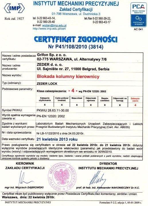 Механическое противоугонное устройство ZEDER - фото Certificat Polsko