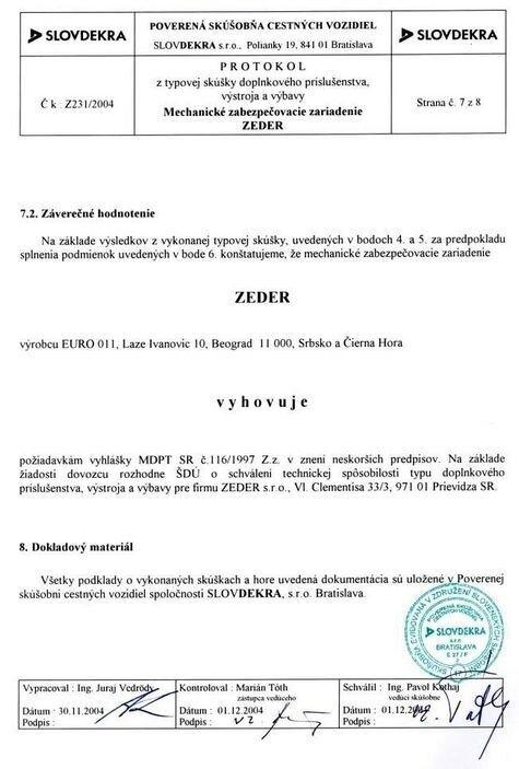 Механическое противоугонное устройство ZEDER - фото Certificat Slovensko