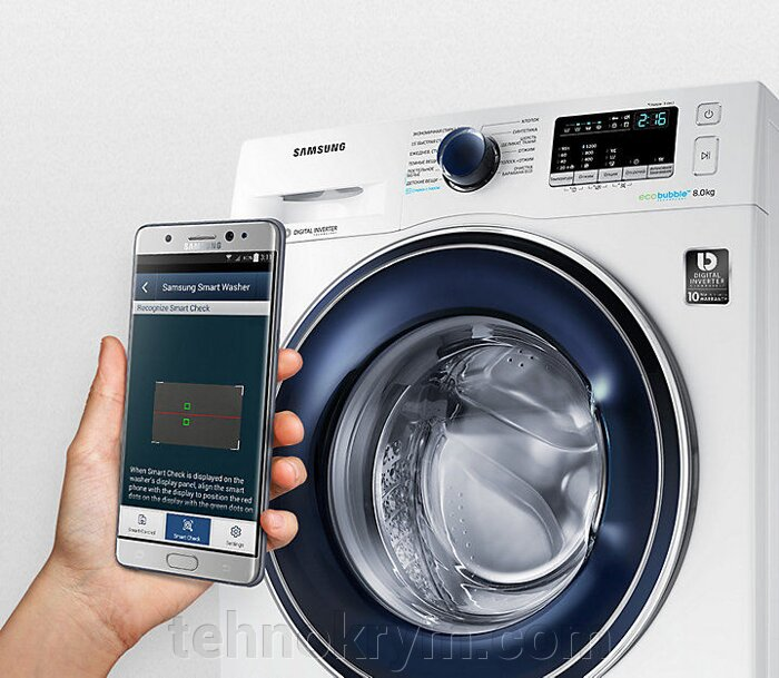 Стиральная машина с паром Samsung WW80K42E07SDLP с EcoBubble  и инверторным мотором - фото Samsung WW80K42E07SDLP