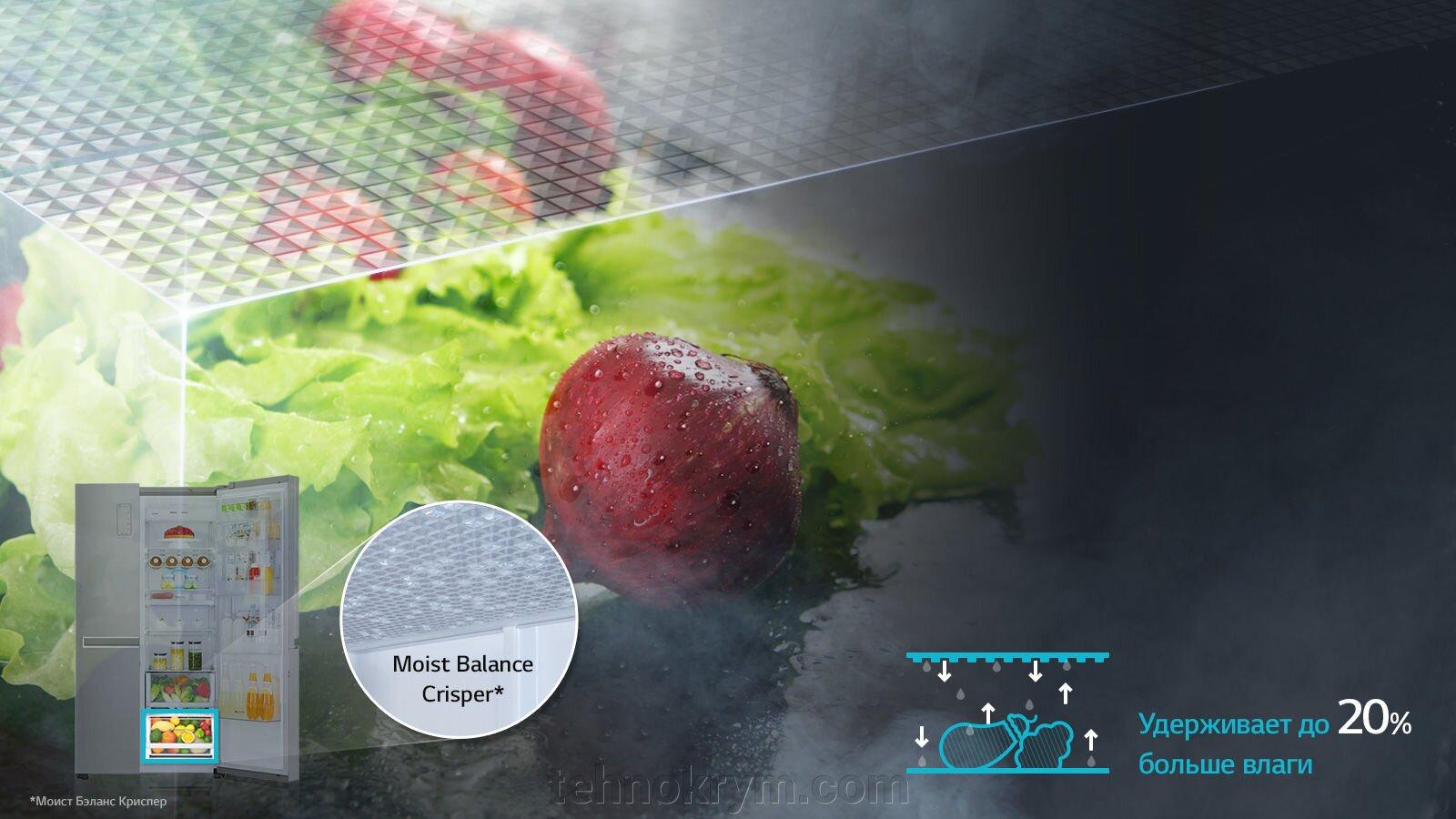 Двухдверный холодильник (Side-by-Side) LG GC_B247JVUV c инверторным линейным компрессором, белый - фото LG GC_B247JVUV