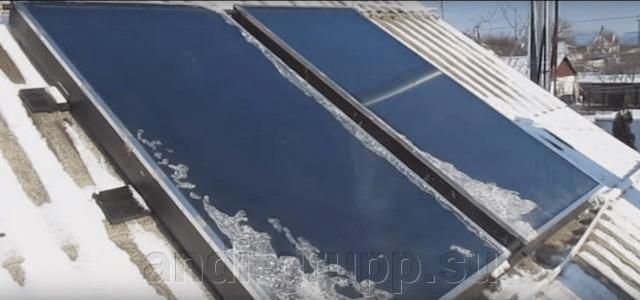 плоский солнечный коллектор зимой