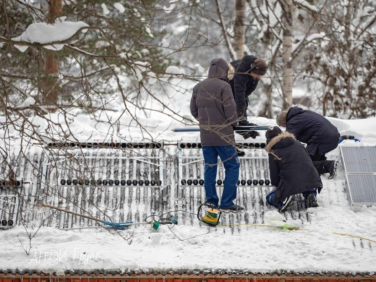 Монтаж солнечных коллекторов в Карелии