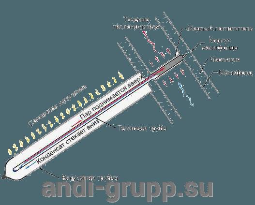 Вакуумный солнечный коллектор SCH-18 - фото вакуумная трубка Heat pipe