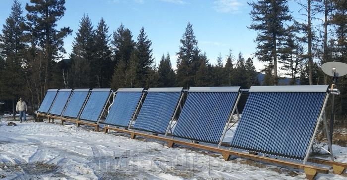 вакуумный солнечный коллектор зимой