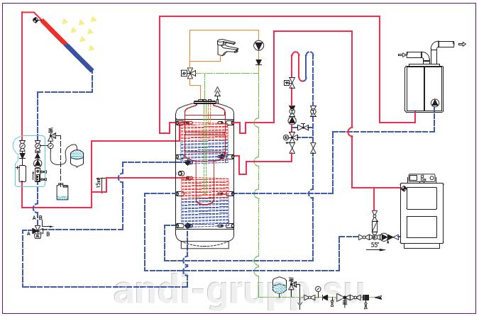 SH-600-72-Sigma-R2 солнечная сплит-система - фото Схема подключения бойлера