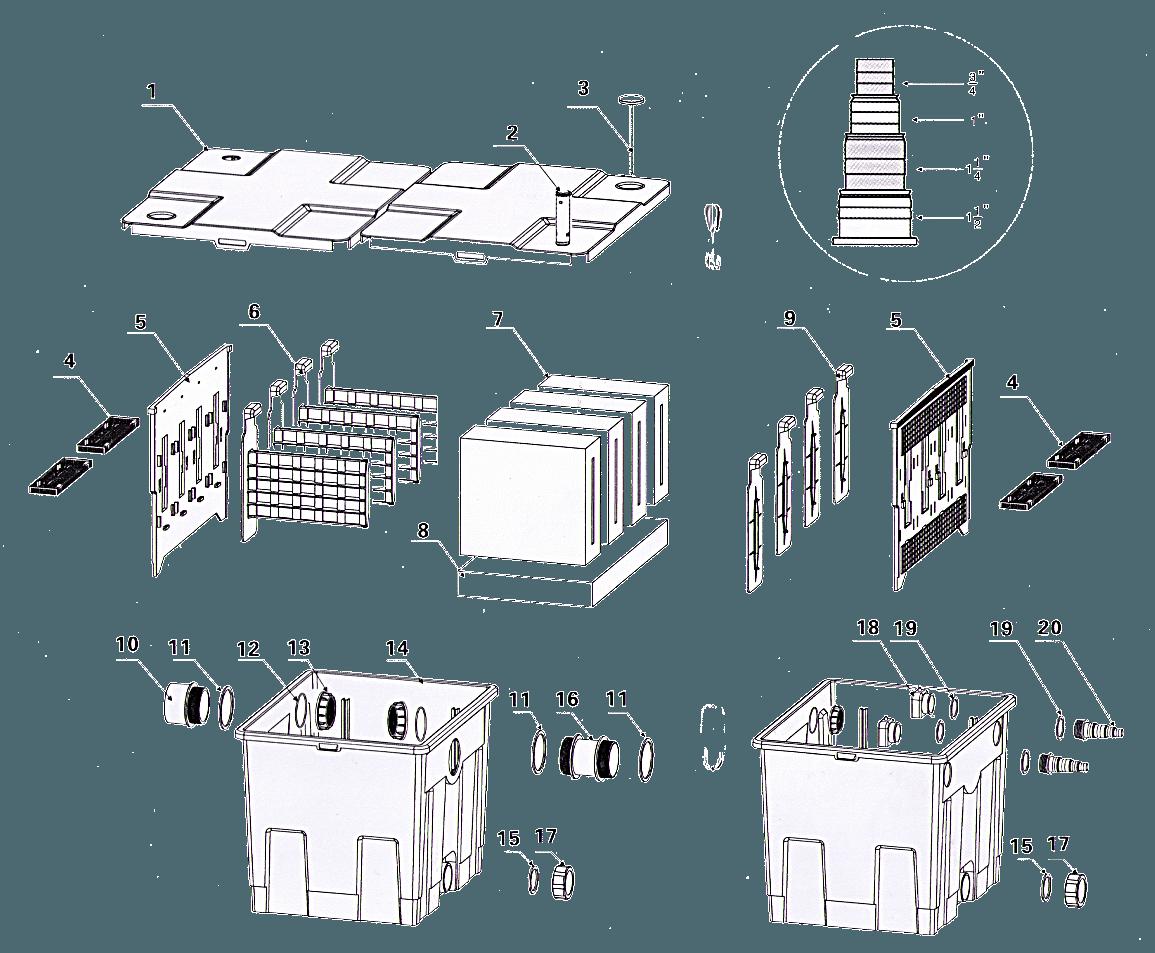 Схема устройства фильтра для пруда CBF - 350