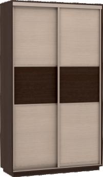 Шкаф купе Мини с дополнительными полками Фасады Венге - ДМ / 90х190х45 - фото Шкаф купе дуб молочный венге