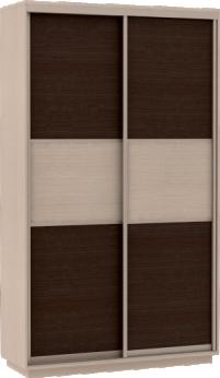 Шкаф купе Мини с дополнительными полками Фасады Венге - ДМ / 90х190х45 - фото Шкаф купе венге со вставкой дуб молочный