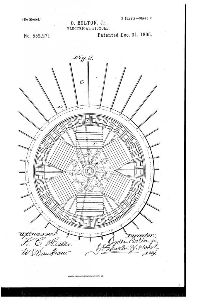 Мотор-колесо Шкондина, патент 1895 года