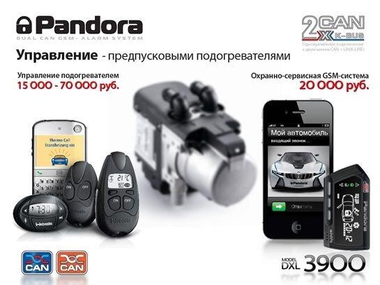 Управление предпусковым подогревателем сигнализация Pandora / Пандора